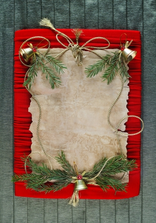 old paper  bordering  with christmas decoration photo