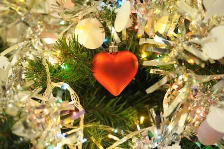toygift: background  of inside decorated Christmas fir tree with colorful lights
