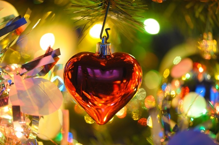 background  of inside decorated Christmas fir tree with colorful lights   photo