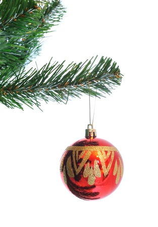 Christmas decoration -red ball in pine branch close up isolated in white photo