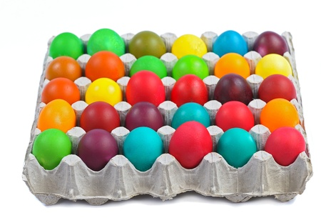 colorful easter eggs in carton isolated on white background Stock Photo - 12639545