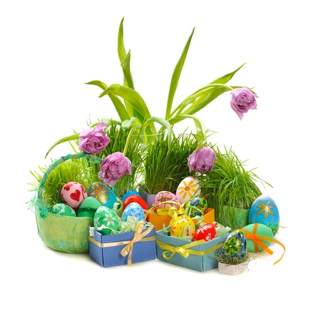flower baskets: decorated easter eggs  with tulips and green grass on white background