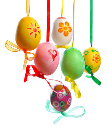easter tree: colorful easter eggs hanging on  branch  isolated  on white background