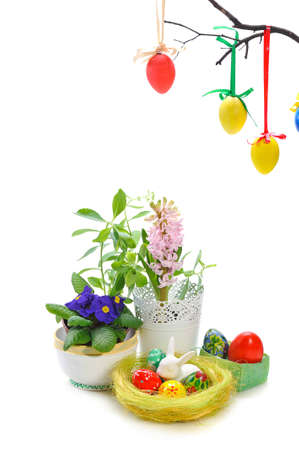 ornate easter eggs with flowers on white background photo