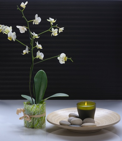 white orchid with candle and massage stones on platter  photo