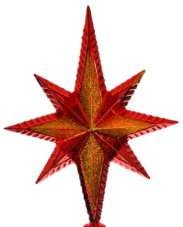 adorn: red christmas star isolated on white background