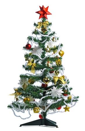 toygift: homemade decorated Christmas tree on white background Stock Photo