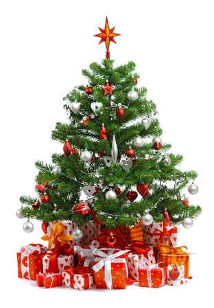 tinsel: Christmas tree with heap of red gift boxes decorated with satin ribbon isolated on white background Stock Photo