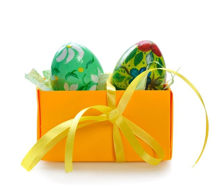 decorated easter eggs  on white background photo