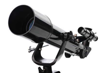 telescope isolated on white background photo
