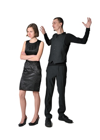 concept of misunderstanding or quarrel. young woman and men have fallen out photo