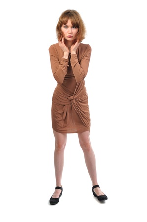 anxious busy woman in brown dress isolated on white background photo