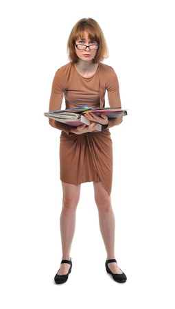 preoccupied: anxious busy woman in brown dress isolated on white background