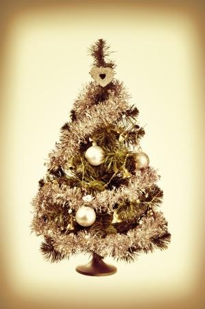 toygift: decorated Christmas tree retro Stock Photo