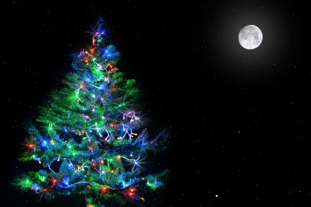 lighten: lighten Christmas tree on natural dark star sky with full moon