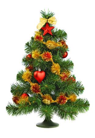 toygift: decorated Christmas tree on white background