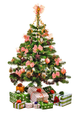 toygift: decorated Christmas tree with gifts on white background
