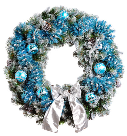 evergreen wreaths: Christmas wreath isolated on white background