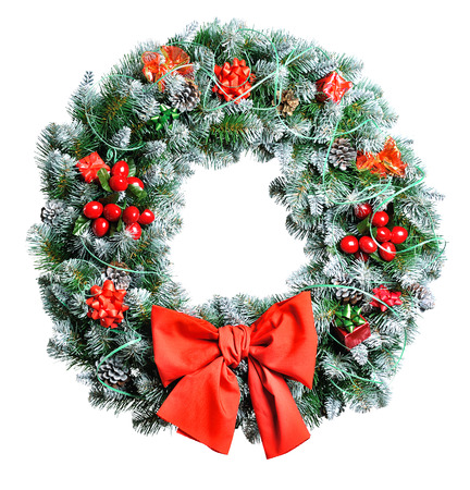 Christmas wreath isolated on white background Stock Photo - 24260272
