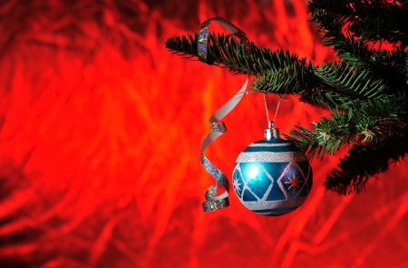 Christmas tree with blue ball on red background  photo