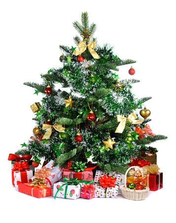 toygift:  Christmas tree with heap of gifts isolated on white background
