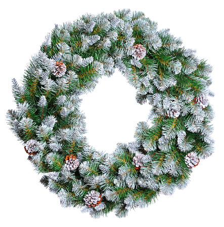 evergreen wreaths: Christmas wreath isolated on white