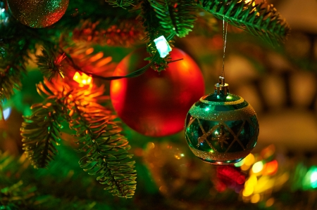 decorated Christmas fir tree with colorful lights