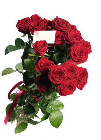 bouquet of red roses with card on white photo