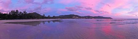 coloful: coloful sky on twilight ocean beach Stock Photo