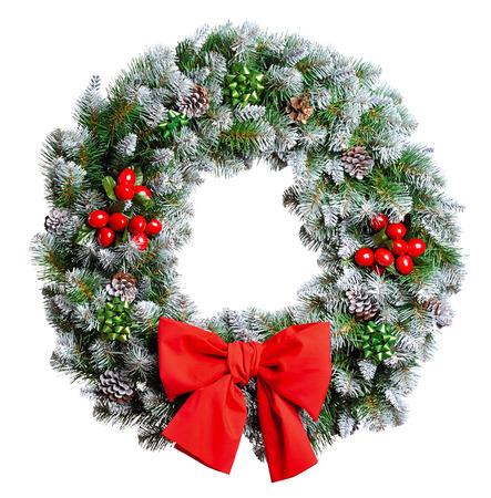 coronas de navidad: Corona de Navidad aisladas sobre fondo blanco