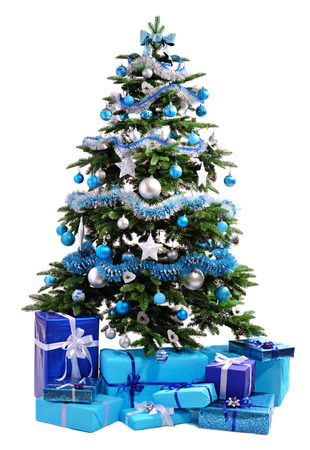 red and blue: Christmas tree with blue gifts isolated on white background Stock Photo