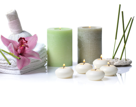 thai orchid: spa items with lilac orchid on white background