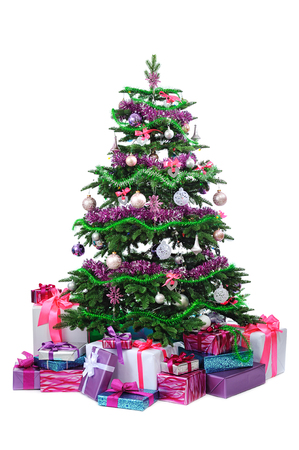 toygift: decorated Christmas tree with gifts isolated on white background Stock Photo