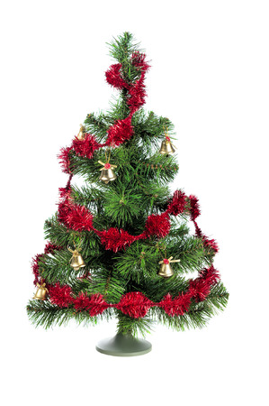 decorated christmas tree: decorated Christmas tree isolated on white background