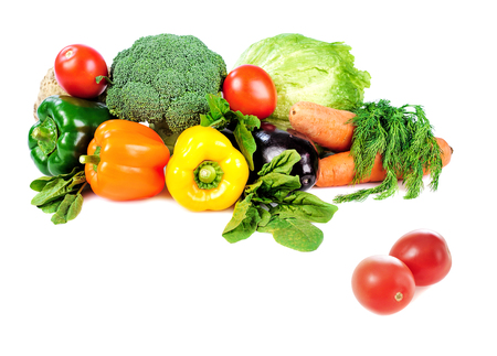 heap: heap of vegetables isolated on white background Stock Photo