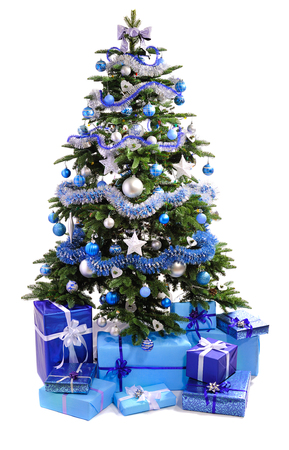decorated: decorated Christmas tree with  blue gifts isolated on white background Stock Photo