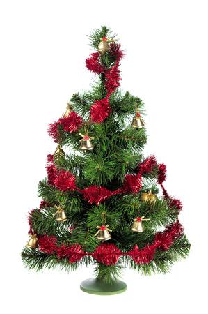 toygift: decorated Christmas tree isolated on white background