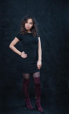 portrait of asian girl on dark background Stock Photo