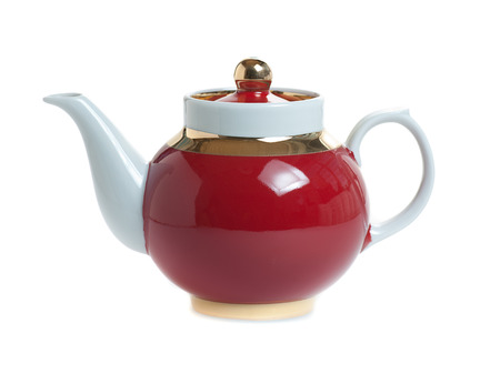 red teapot solated on white background
