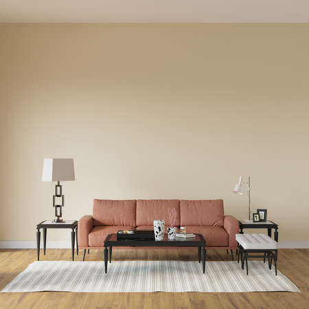Living room with sofa and decors, empty wall, 3d render, wall mockup