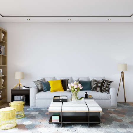 Interior of a room with sofa and other decors, 3d render, wall mockup