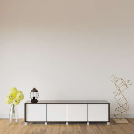 Modern interior with a dresser and decors, 3d render, wall mockup