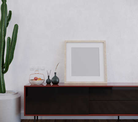 Design of room with square frame and other decors, 3d render, wall mockup