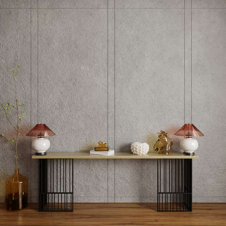 Interior of a house with decors in front of the concrete wall, 3d render, wall mockup