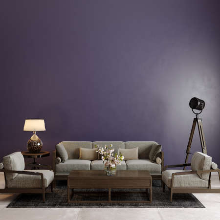 Modern living room with sofa and other decors in front of the purple wall, 3d render, wall mockup