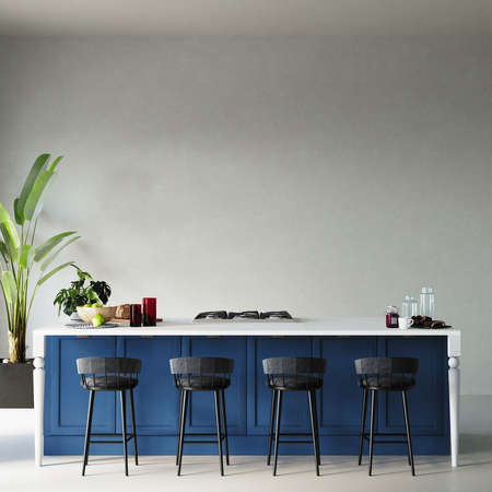 Interior of a kitchen with blue kitchen cabinet and other decors in front of the white wall, 3d render, wall mockup