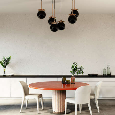 Dining room with orange table, white chair, lamp and other decors, 3d render, wall mockup