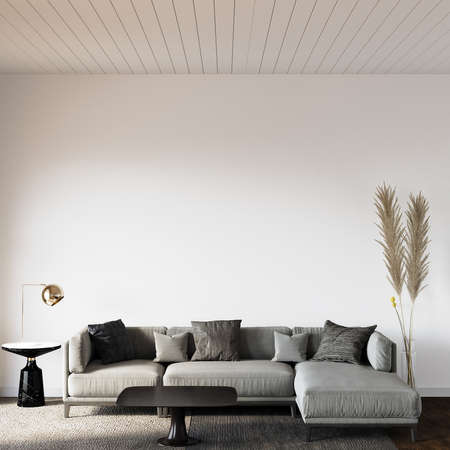 Modern living room with sofa and other decors in front of the white wall, 3d render, wall mockup