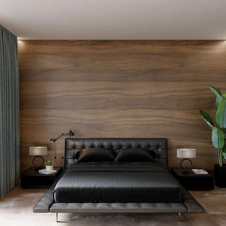 Bedroom interior witj black bed and decors in front of the wooden wall, wall mockup