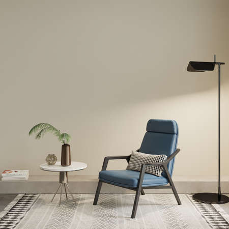 Interior of a room with blue armchair, lamp and other decors, 3d render, wall mockup